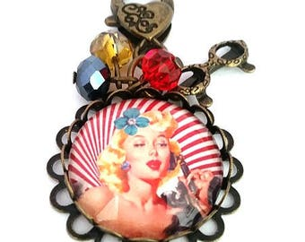 door keys pinup cabochon glass, retro, vintage, bronze, bag charm, gift for woman