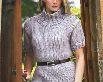 Ladies Chunky Sweaters Knitting Pattern, King Cole Knitting Pattern, Ladies Short Sleeve Jumper, Ladies Front Pocket Jumper, King Cole 3174