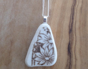 Dainty Flower Beach Pottery Necklace Pendant, Northumberland, Sea Pottery, Beach Jewelry, Pottery Shard, Sterling Silver, English Pottery