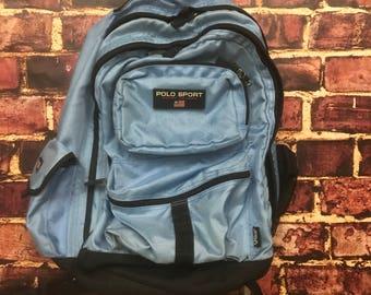 Vintage Polo Sport Backpack Polo Sport Bag in Light Blue Ralph Lauren Bag Vintage Backpack 90s Baby Blue