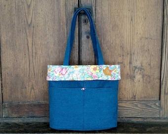 Denim tote, denim bag, jean tote, jean bag, denim market bag, denim market tote, blue jean bag, blue jean tote, denim shoulder bag, book bag