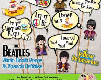 PRINTABLES - The Beatles - Yellow Submarine - Photo Booth Props & Speech Bubbles - JPEG files 300dpi - Letter size