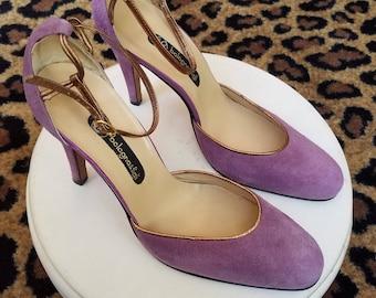 Clean, Vintage, 1970's, 1980's, Bologna & Figli, Italian, Suede, Leather, Lavender, Lilac, Purple, Shoes, Heels, Pumps