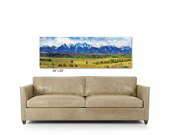 Grand Tetons, Panoramic Art, Grand Teton National Park, Sofa Art, Large Wall Art, Landscape, Large Canvas,  Sofa Art, Mountains, Wyoming