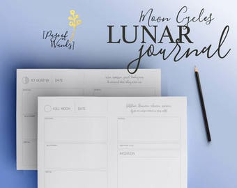 Lunar Journal - Health and Wellness - Moon Cycle - Tracker - Diary - Intention Setting