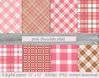 Pink Chocolate Plaid, DIGITAL PAPER, Printable  Background, Scrap Paper, Instant Download,  Digital Download, Plaid Print