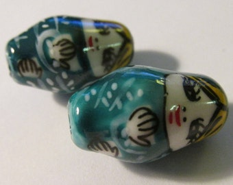 Ceramic Hand Painted Miniature Matryoshka Russian Doll Beads, 25mm, Set of 2
