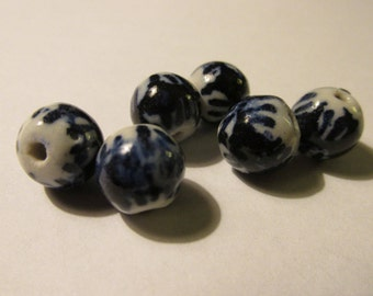 Tie Dye Hand Painted Round Blue-and-White Ceramic Beads, 10mm, Set of 6
