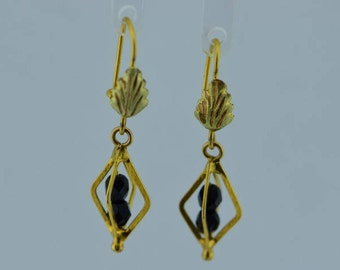 14K Black Hills Gold Earrings with Black Onyx Beads
