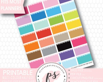 Multicolour Straight Edge Half Size Box Printable Planner Stickers | JPG/PDF/Silhouette Cut Files