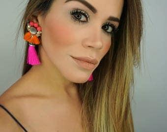 Fuchsia Earring, Colorful Earrings,Birthday Gift,Bridal Jewelry,Threader Earrings,Wedding Earrings, Tassel Earrings,Rhinestone Earrings,Gift