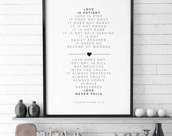 Love Is Patient Print , 1 Corinthians 13 | Christian Gift Printable | Printable Scripture Decor | Love Is Patient Love Is Kind | Bible