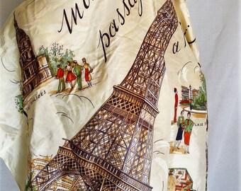 1950s Paris silk scarf beige eiffel tower souvenir paris printed scarf silk summer scarf France souvenir vintage silk scarf 50s