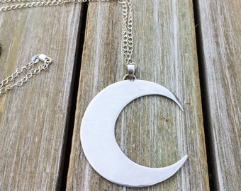 Silver crescent moon pendant necklace with bail - sterling silver, adjustable chain, waning waxing, bohemian boho bridesmaids gifts for her