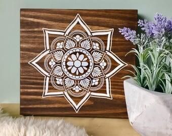 Wood Wall Art, Mandala, Mandala Painting, White Mandala, Dark Walnut, Mandala Home Decor, Mandala Wall Decor, Wall Hanging, Boho, Yoga Art