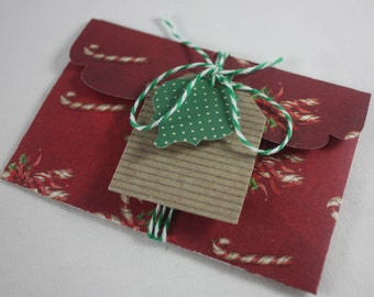 Christmas Gift Card Money Holder Single Includes Tags And Twine 3 Piece Set Handmade Great for Cash Or Small Flat Gifts Candy Canes