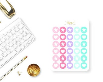 Functional Icon Stickers, Planner Stickers, Erin Condren Stickers, Happy Planner Stickers, Star Planner Stickers, Heart Planner Stickers