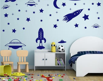 ROCKET 80 PIECE Set Space Planet Stars Boys Girls Childrens Bedroom Playroom Nursery Vinyl Matt Wall Art Sticker Decal *20 colours*
