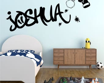 GRAFFITI Spray Can Personalised ANY NAME Boys Girls Childrens Bedroom Nursery Vinyl Matt Wall Art Sticker Decal Transfer 20 colours 3 Sizes