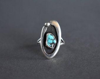 Vintage Sterling Silver Statement Ring Southwestern Modernist Turquoise Size 5.75