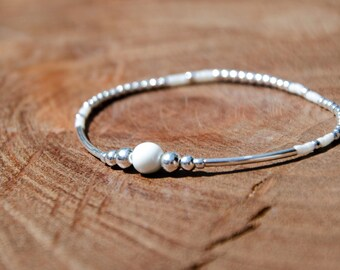 Bracelet JULIS White and 925 Sterling Silver - Beaded bracelet