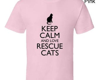 Funny cat Tshirt,rescue cat tshirt,cat lover tshirt,cat lover clothes,black cat tshirt,cat lover gifts,Keep Calm And Love Rescue Cats
