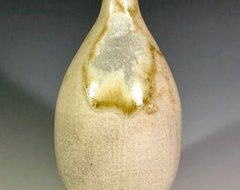 Shino and Soda Ash Glazed Porcelain Bottle