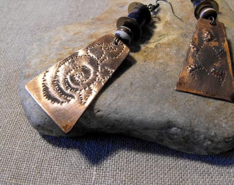 Ethnic earrings asymmetric, mismatched, etched metal earrings tribal earrings