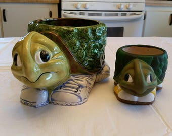 2 vintage turtle planters w/ tennis shoes / sneakers - ceramic green & brown - signed art pottery  painted tortoise bowl vase