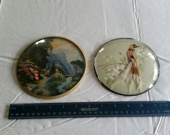 set of 2 antique round convex bubble glass dome picture plaques - wall hanging photos - bird mountains village 1940 - prints floral church