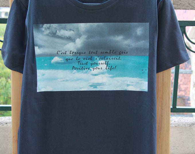T-shirt cotton man message and photo sky blue