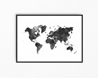 World map black. Watercolor map. Black and white world map. Scandinavian decor. Minimalist art. Download and print