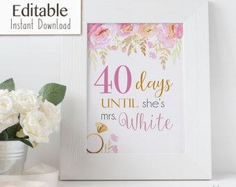 Bridal Shower Countdown Sign Printable, Editable PDF, Instant Download, Days Until She's Mrs, Bridal Shower Signs, Wedding Shower sign