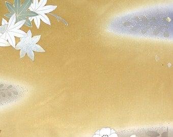 Four seasons' Flowers Golden Brown 1 - Japanese Silk KIMONO Fabric