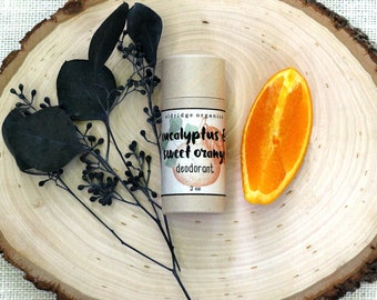 Deodorant - Eucalyptus & Sweet Orange Deodorant - Organic Deodorant - All Natural Deodorant