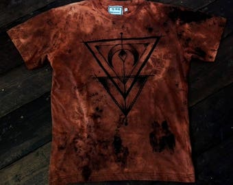 Hand dyed hand painted acid dye triangle t-shirt size M