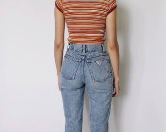 Vintage 1980s High Waist Jeans 22   High Waist Denim Jeans   Acid Wash Jeans   High Waist Mom Jeans