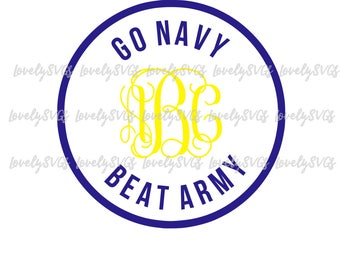 Instant Download SVG Studio3 - Go Navy Beat Army Monogram Frame Circle - PDF Jpeg - Silhouette Cricut
