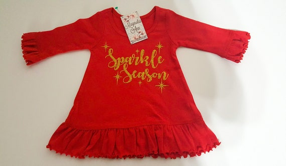 Sparkle Season Girls Red Ruffled A-Line Dress, Red Christmas Dress, Baby Girl Christmas Dress, Girl Christmas Outfit, Girl's Holiday Dress
