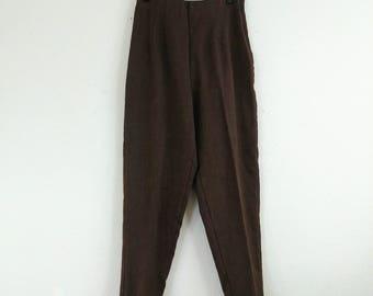 Vintage Dark Walnut High-waisted Pants