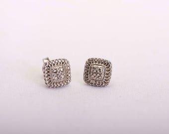 Silver Diamond Square Earrings