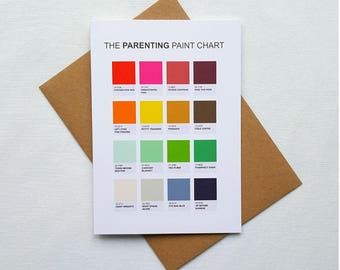 The Parenting Paint Chart, new baby card, funny baby shower card, parenting, new parent card, funny baby card alternative new baby card