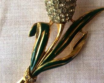 Whimsical Vintage Rhinestone Tulip Brooch