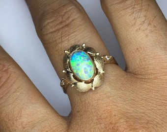 Opal gold ring,Geniune Lightning ridge crystal opal, Handmade yellow gold floral ring