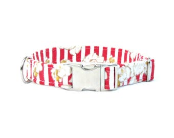 "pupcorn flannel DOG Collar~ 3/4"", 1"" or 1.5"" wide"