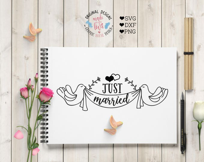 wedding svg, just married, bride svg, wood sign design, groom svg, wedding cutting file, marriage svg, couple svg, decal wedding design