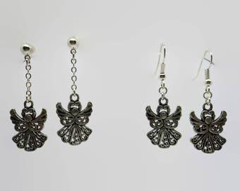 Earrings Christmas Angel - silver - 4 cm