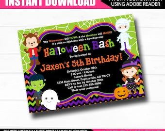HALLOWEEN Birthday Invitation, INSTANT DOWNLOAD, Halloween Party, Halloween Birthday, Birthday Invitation, Printable Invitation, 5x7
