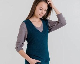 V-Neck Knit Vest (Evergreen)