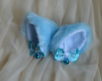 Kitten play clip on cat ears with ribbon bows and bell - neko lolita cosplay costume - kitten play gear accessories - white and baby blue
